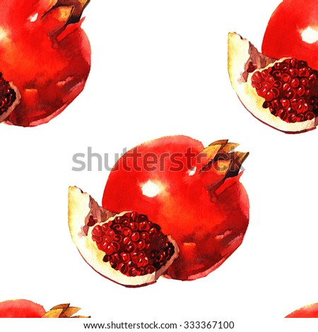 watercolor pomegranate , raster illustration isolated on white background, seamless pattern