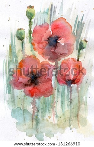 Watercolor poppies and grass. - stock photo