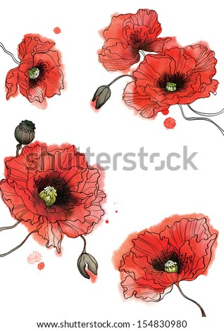 Watercolor poppies in a circle on white background - stock photo