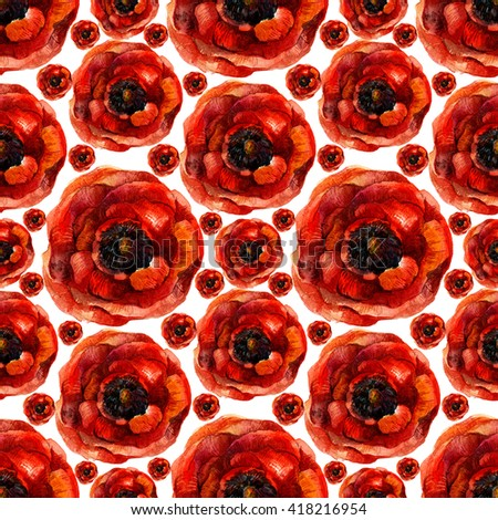 Watercolor poppies seamless pattern. Retro seamless floral pattern with vintage red poppy flower. Fashion boho style (shabby chic, hippie)