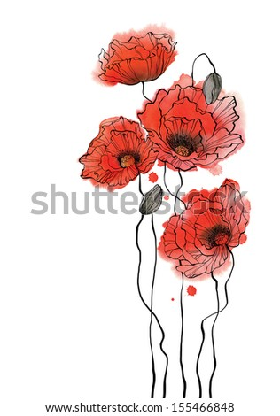 Watercolor poppies - vertical composition on white background - stock photo