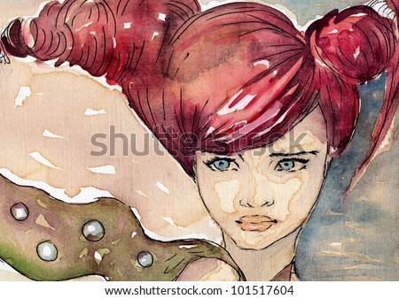 watercolor portrait of a woman. - stock photo