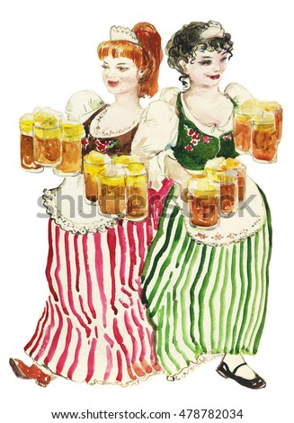 watercolor portrait of two girls waitress serve beer octoberfest