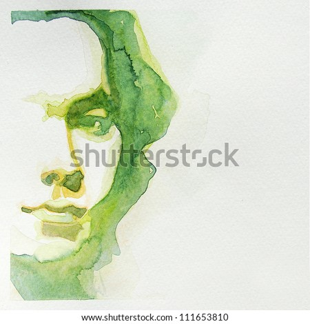 watercolor portrait of young man | handmade | self made | painting - stock photo