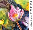 watercolor portrait's of the lotus - stock photo