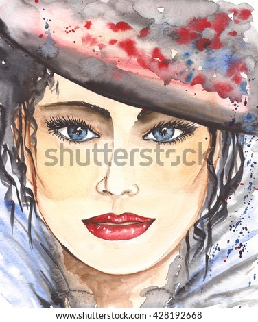 Watercolor. Portrait woman. Beauty concept. Cosmetics design. Fashion girl. Beautiful face.