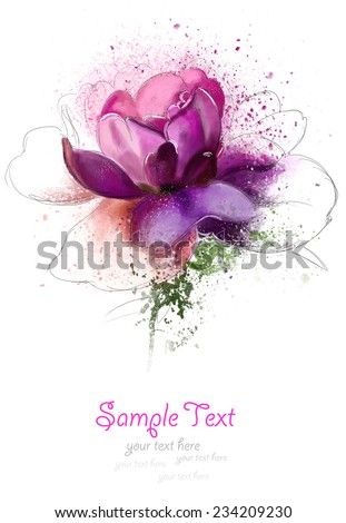 watercolor postcard with text greetings - stock photo