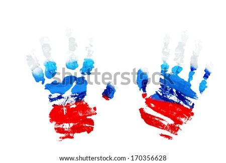 Watercolor prints of children's hands-colored flag of Russia.