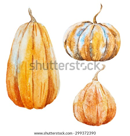 watercolor pumpkin, isolated object, a symbol of Thanksgiving, Halloween, Autumn - stock photo