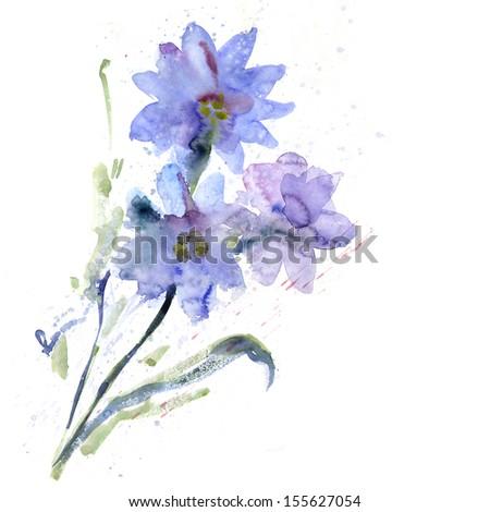 Watercolor purple flowers - stock photo