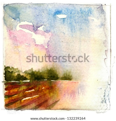 Watercolor -Rain Landscape-