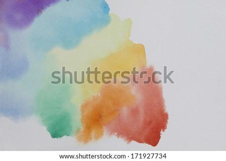 Watercolor rainbow - stock photo