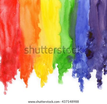Watercolor Rainbow Colors Gay Lesbian LGBT illustration - stock photo