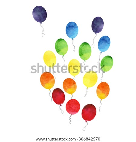 Watercolor Rainbow Colors  LGBT illustration balloon Watercolor hand painted. - stock photo