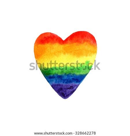 Watercolor Rainbow Colors love Gay Lesbian LGBT illustration  - stock photo