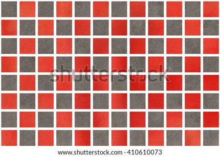 Watercolor red and grey squares. Watercolor background. Red and grey  watercolor texture. Watercolor geometric pattern.