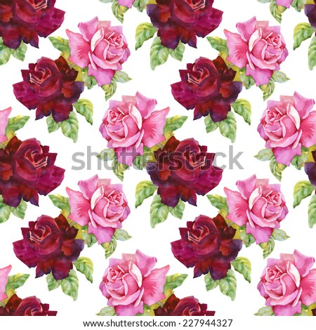 Watercolor red and pink roses seamless pattern.on white background