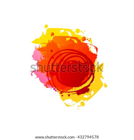 Watercolor red colors spot. Abstract raster template. Frame with space for text. Grunge blob. Artistic drawn grunge background. Paint texture spot. Raster Ink splash. Summer and autumn grungy spot. - stock photo