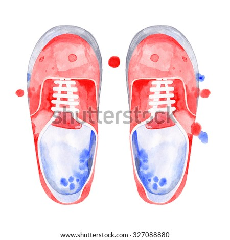 Watercolor red flat shoes, sneakers. Hand draw. Watercolor splashes