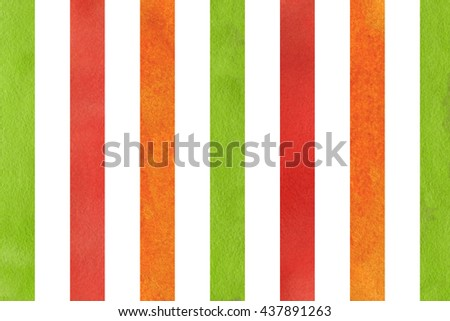 Watercolor red, orange and green striped background. Abstract watercolor background with red, orange and green stripes.