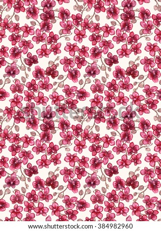 Watercolor Red Orchid Repeat Pattern