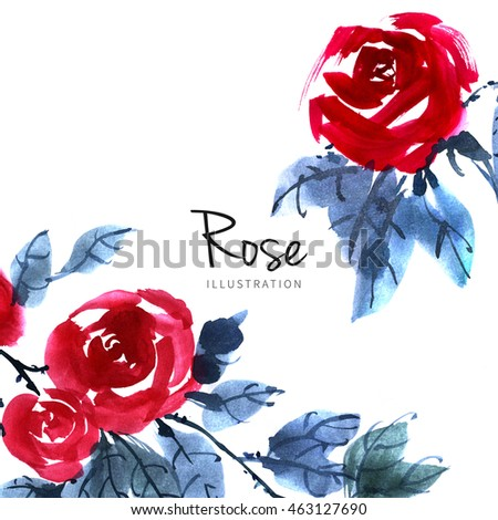 Watercolor red rose flower background. Drawn nature Chinese painting art.