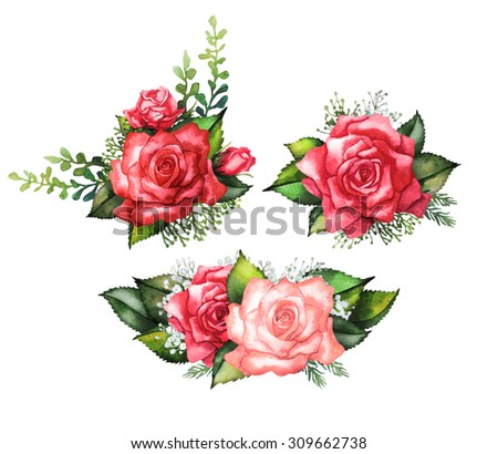 Watercolor red roses. Vignette collection. Wedding  design - stock photo