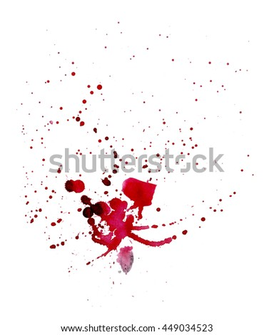 Watercolor red spots. Spray paint. Spot-like blood. Isolated on white background. Nice element for your project.