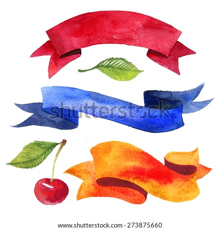 Watercolor ribbons and banners for text. Collection of Watercolor design elements, backgrounds, lcherry, leaves, ribbons . Hand drawn abstract colorful stripes. - stock photo