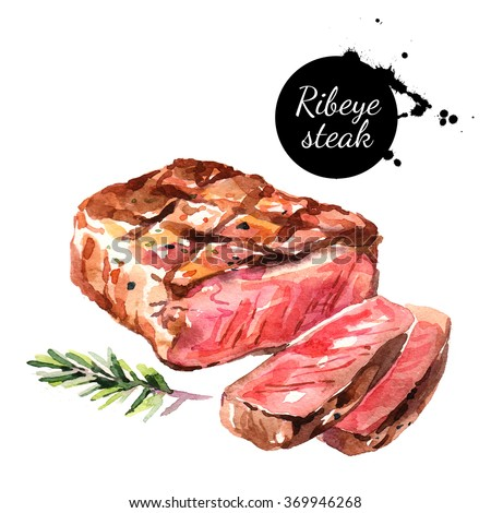 Watercolor ribeye steak. Isolated food illustration on white background - stock photo
