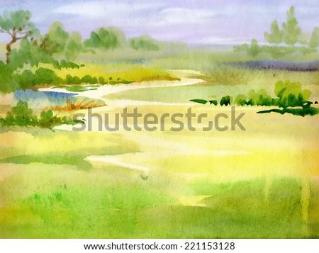 Watercolor river nature landscape - stock photo