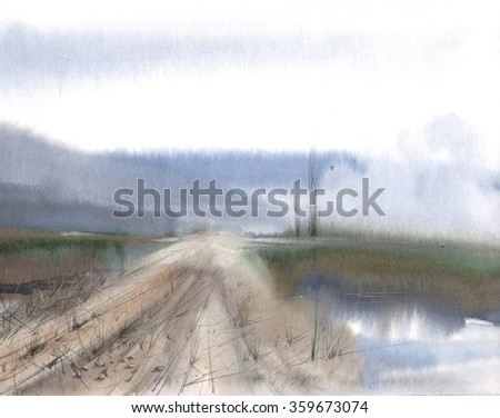 watercolor road illustration