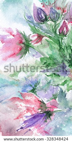 Watercolor romantic pink green violet flowers background