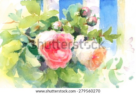 Watercolor Roses Flowers Floral Background Texture Hand Painted Illustration