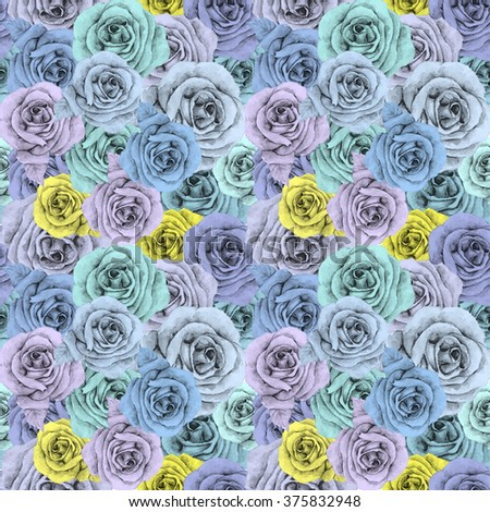 Watercolor roses pattern - stock photo