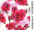 Watercolor Roses seamless background - stock photo