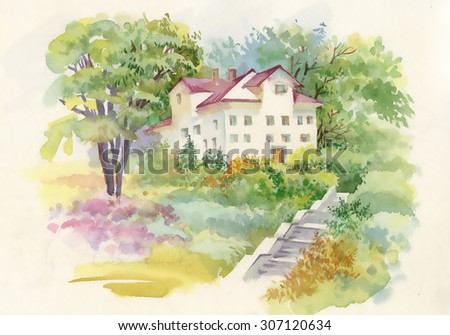 Watercolor rural landscape with house in beautiful nature