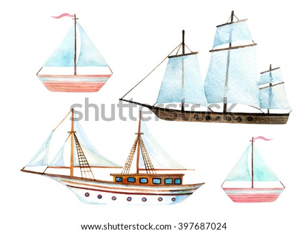 Watercolor sailing ships set isolated on white background. Hand painted marine transport illustration. Travel elements - stock photo