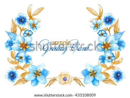 Watercolor sample greeting card light blue stock illustration watercolor sample greeting card with light blue flowers and light brown leaves can be used m4hsunfo Images