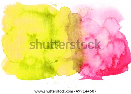 Watercolor saturated yellow pink hand drawn isolated stain on white background. Art design for banner, template, print, scrapbook, cover, text.