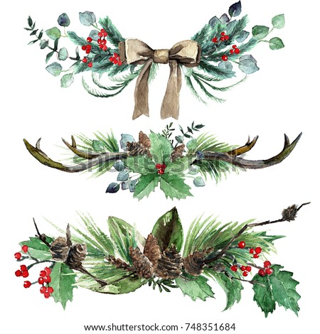 Watercolor Scandinavian Christmas Composition Set. Hand drawn winter decoration. Magnolia leaves, spruce, eucalyptus, twigs, holly and pinecones bouquets, decorated with antlers and canvas bow