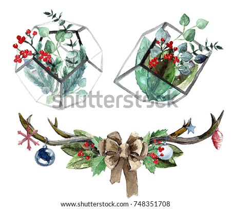 Watercolor Scandinavian Christmas Composition Set. Hand drawn winter decoration. Magnolia leaves, spruce, eucalyptus, holly and pinecones bouquets in a glass terrariums and antlers composition.