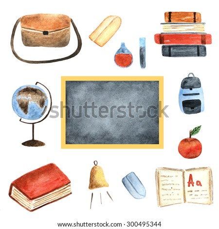 Watercolor school objects collection including bag, backpack, apple, books, chalk, globe, bell, notebook, blackboard, chemical tube - stock photo
