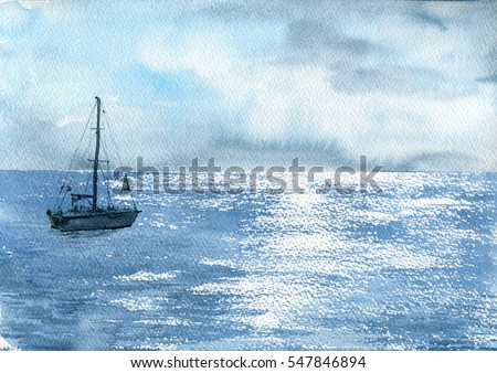 watercolor sea boat and cloudy sky, yacht and solar flares at waves, hand drawn landscape