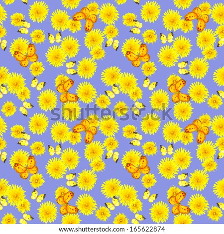 Watercolor seamless bright background with flowers dandelion and butterflies - stock photo