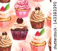 Watercolor seamless cupcake background - stock