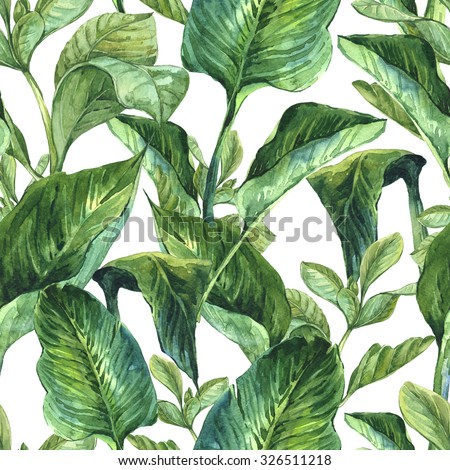 Watercolor Seamless Exotic Background with Tropical Leaves, Botanical illustration - stock photo