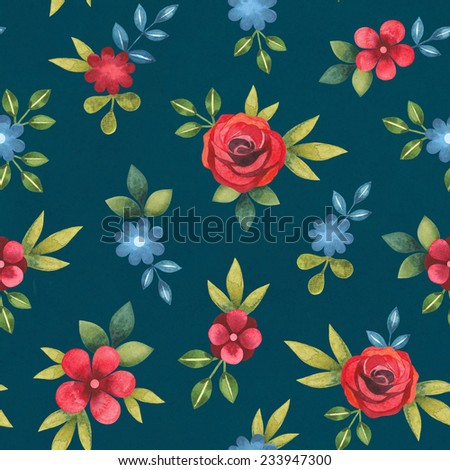 Watercolor seamless floral pattern - stock photo