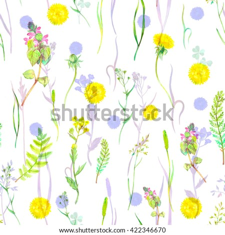 Watercolor seamless floral pattern with wild herbs and flowers. Hand painting botanical illustration for print, wrapping, fabric, background and other seamless natural design. - stock photo