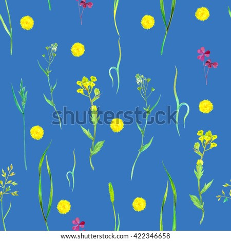 Watercolor seamless floral pattern with wild herbs and flowers on blue. Hand painting botanical illustration for print, wrapping, fabric, background and other seamless natural design. - stock photo